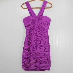 Angelina Faccenda Purple Berry Ruched Formal Dress
